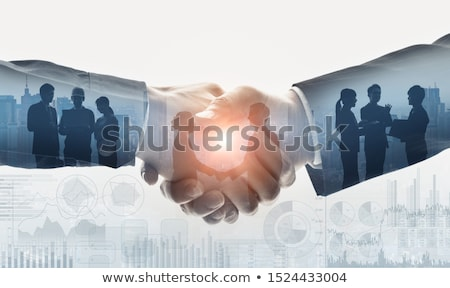 gens · d'affaires · face · serrer · la · main · signe - photo stock © lightsource