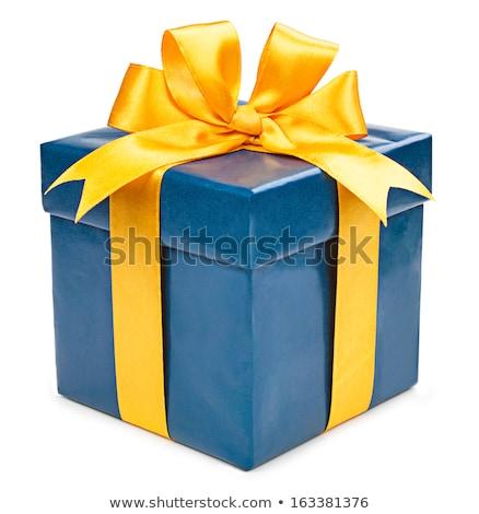 caixa · de · presente · azul · amarelo · fita · branco · amor - foto stock © Quka