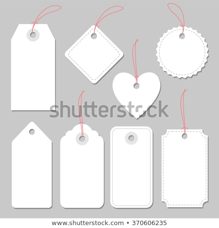 cadeau · tag · rouge · or · ruban · blanche - photo stock © lightsource