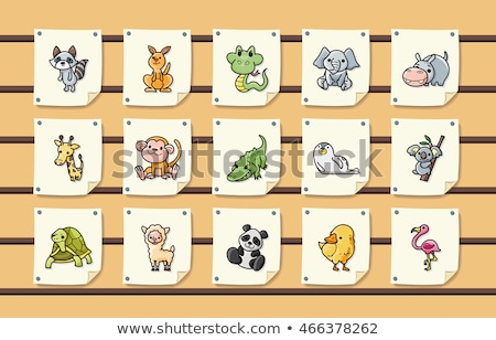 Animals: penguin, giraffe, snake, elephant Stock photo © Filata