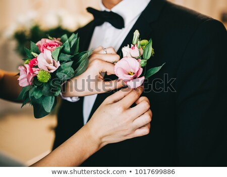 Stockfoto: Grooms Buttonhole At Wedding
