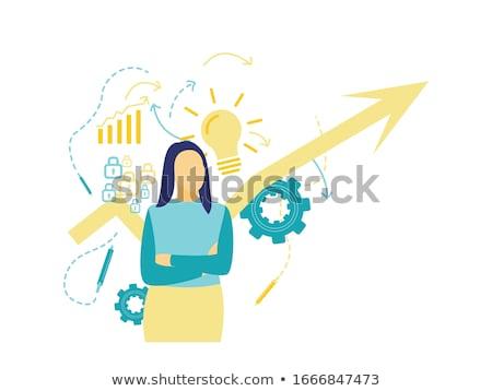 Foto d'archivio: Idea · giovani · donna · d'affari · segni · fronte · business