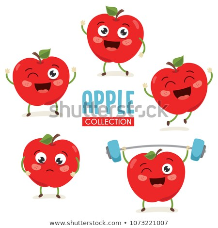 rode · appel · karakter · grappig · vruchten · witte · gezicht - stockfoto © lightsource