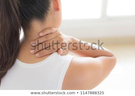ból · szyi · smutne · biznesmen · dotknąć · szyi - zdjęcia stock © dacasdo