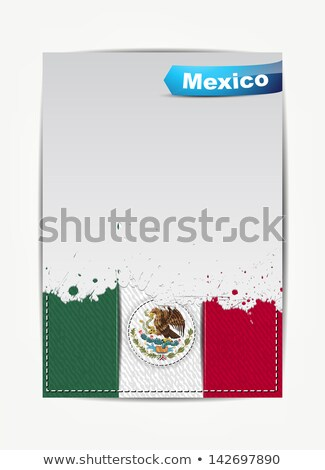 Zdjęcia stock: Stitched Mexico Flag With Grunge Paper Frame For Your Text