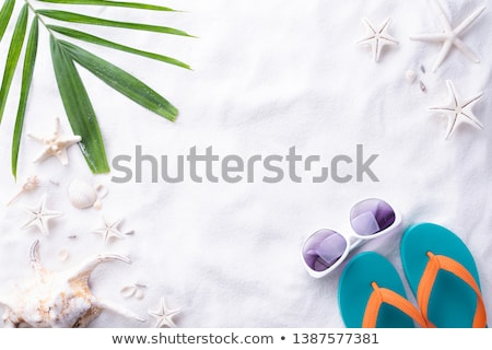 Sunscreen and starfish with sunglasses on sandy beach Stock photo © EllenSmile