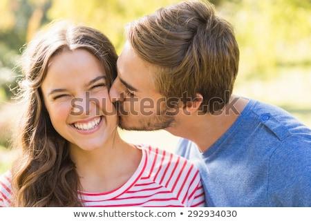 Stok fotoÄŸraf: ‡ekici, · genç · çift, · öpüyor