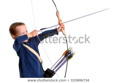 Zijaanzicht jongen boeg pijl kind Stockfoto © zzve