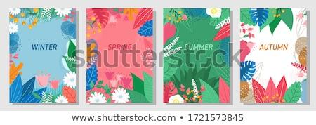 vektör · sonbahar · mevsimlik · karanlık · yeşil · turuncu - stok fotoğraf © saicle