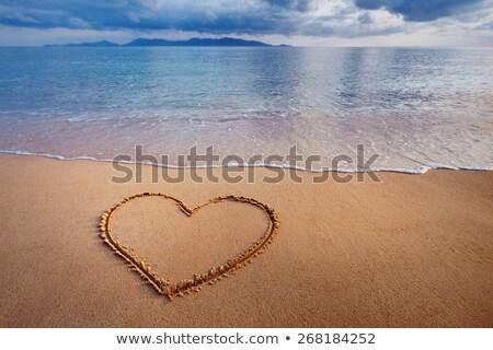 Углеродный · след · написанный · песок · пляж · текстуры · фон - Сток-фото © iko