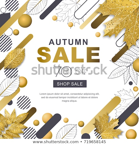 october sale drawn banner with fall leaf Stock photo © marinini