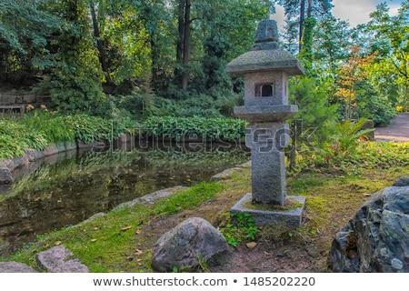 japonês · pedra · guardião · escultura · jardim · cão - foto stock © davidgn