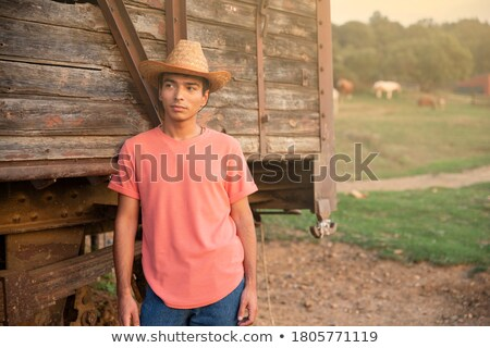 Cowboy man smiling happy wearing hat in country Stock photo © Maridav