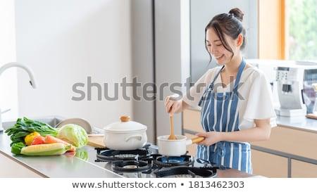 çekici ev kadını mutfak portre kadın saç Stok fotoğraf © dukibu