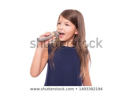 Zdjęcia stock: Girl Singing On White Background