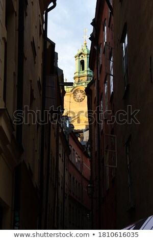 Keskeny sikátor kilátás lépcsősor néz templom Stock fotó © w20er