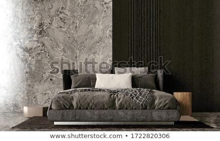 現代 白い家 ベッド 大理石 階 光 ストックフォト © lunamarina