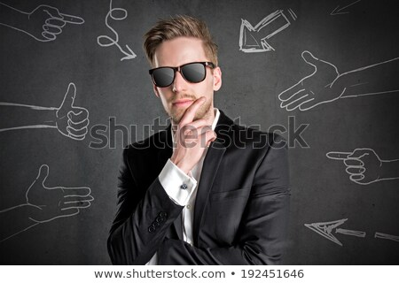 Hideg macsó üzletember napszemüveg szexi fiatal Stock fotó © stryjek