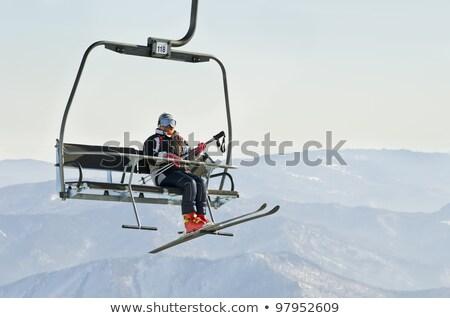 Kayak asansör destek sandalye çelik gökyüzü Stok fotoğraf © janhetman