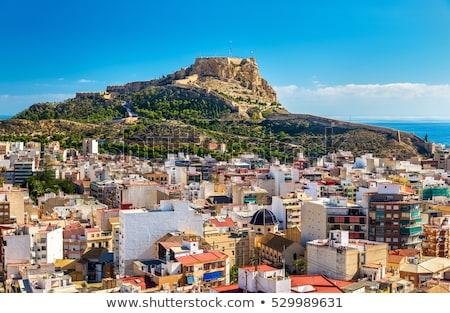 praia · ver · castelo · Espanha · céu - foto stock © lunamarina