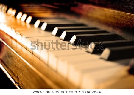 antique piano keys and wood grain stock photo © witthaya