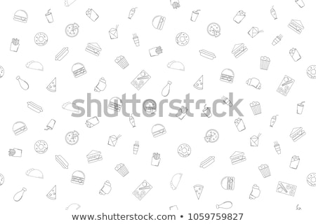 set of seamless pattern of fast food icons stock photo © elenapro