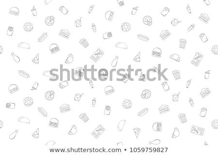 Stockfoto: Ingesteld · fast · food · iconen · koffie
