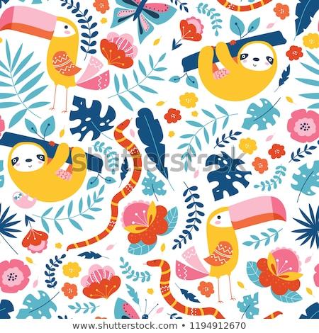 бесшовный цветочный цвета Cute Cartoon птиц Сток-фото © Elmiko