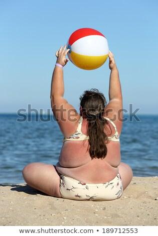 Excesso de peso mulher ginástica praia bola água Foto stock © Mikko