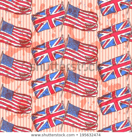 sketch uk and usa flags vector seamless pattern stock photo © kali