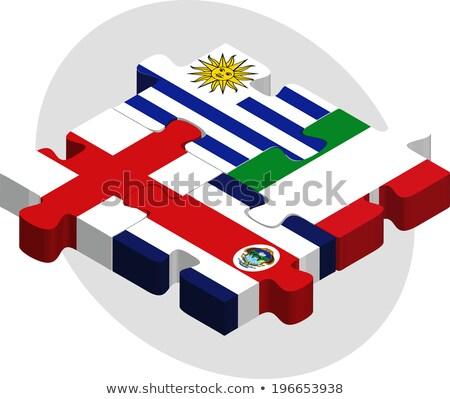 Uruguay Costarica bandiere puzzle isolato bianco Foto d'archivio © Istanbul2009