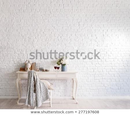 Foto stock: Branco · parede · de · tijolos · design · de · interiores · quadro · negócio · papel