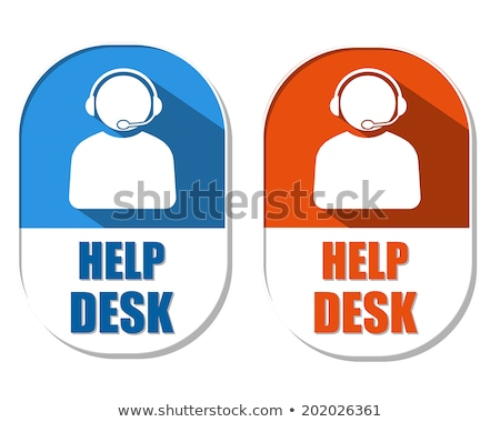 help desk with headset sign, two elliptical labels Stock photo © marinini