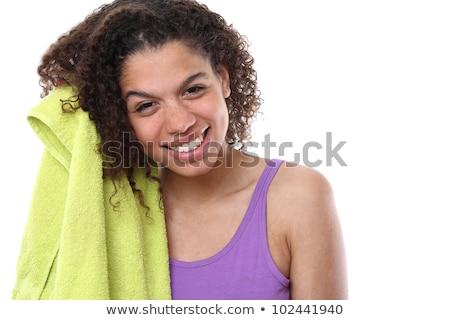 женщину · стиральные · волос · шампунь · пена · душу - Сток-фото © 26kot