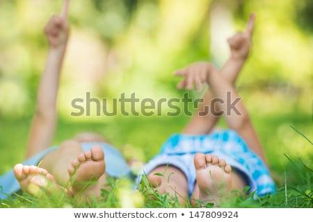 Stockfoto: Kinderen · gras · wijzend · hemel · groep · gelukkig