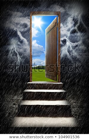 Stairs in sky with green grass and thunderstorm Stock photo © cherezoff