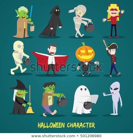 halloween characters   dracula frankenstein mummy icons stock photo © redkoala