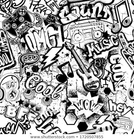 Graffiti fiú városi vektor rajz város Stock fotó © araga