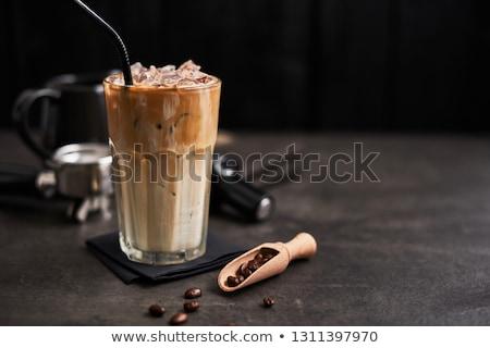 冷たい · ガラス · ミルク · コーヒー · アイスキューブ - ストックフォト © nalinratphi
