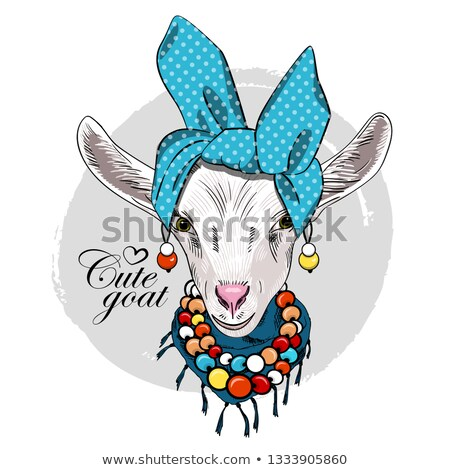sketch cute goat in hipster style stock photo © kali