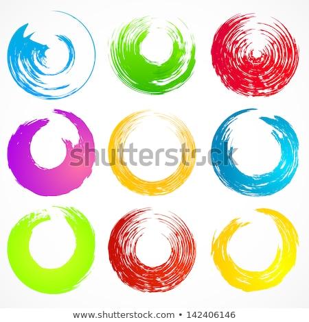 Vert pinceau cercle vecteur cadre texture Photo stock © gladiolus
