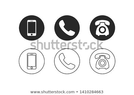 telefonema · simples · ícone · branco · tecnologia · assinar - foto stock © mr_vector