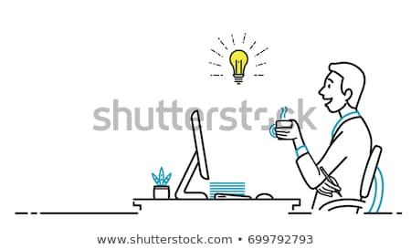 computer · nerd · cartoon · felice · tastiera · monitor - foto d'archivio © mr_vector