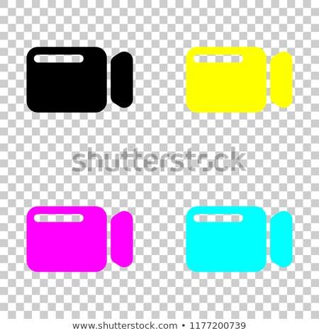 Magenta átlátszó filmszalag ikon izolált fehér Stock fotó © cidepix