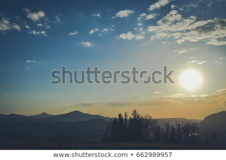 山 · 霧 · 冬 · 日の出 · 風景 · 山 - ストックフォト © alex_grichenko