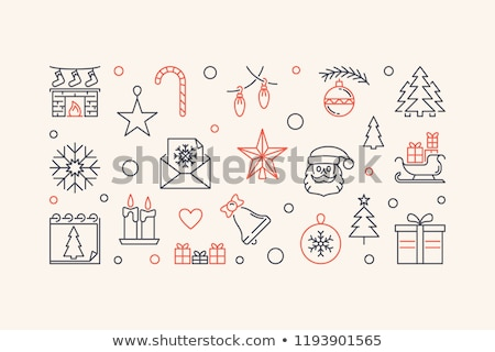 Natale · scatola · regalo · cute · icone · donna · arte - foto d'archivio © vectorikart