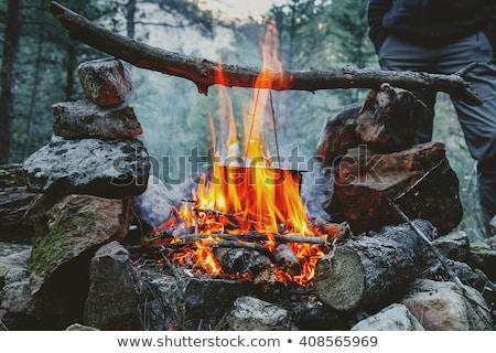 Fekete üst kempingezés tűz főzés lassú Stock fotó © taviphoto