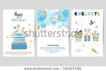 mutlu · yıllar · hediyeler · balonlar · örnek · konfeti · parti - stok fotoğraf © barbaliss