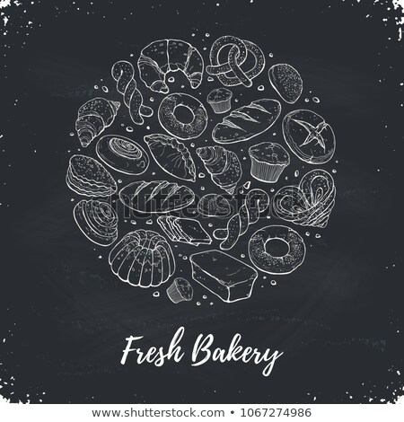 vintage illustration with a loaf of bread on blackboard background. bakery concept  Stock photo © maximmmmum