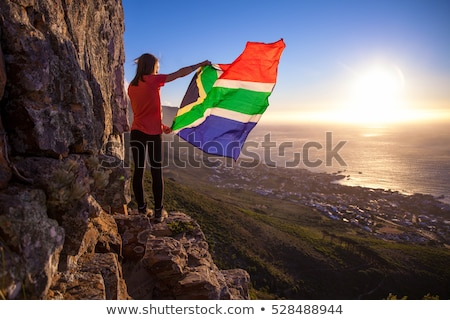 Beutiful Woman with South African Flag Stock photo © fouroaks